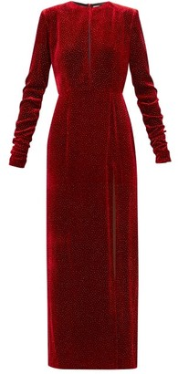 Raquel Diniz Lucy Glittered Side Slit Velvet Dress - Womens - Dark Red