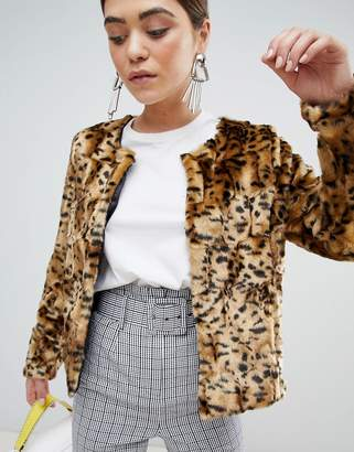 Unreal Fur Dream Animal Faux Fur Collarless Jacket