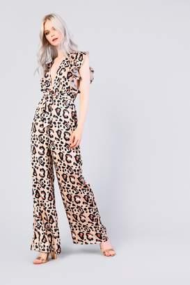 Glamorous Womens **Leopard Print Ruffle Jumpsuit By Multi