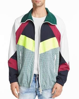 DSQUARED2 Color-Block Mixed-Media Sports Jacket