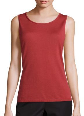 Lafayette 148 New York Wool Scoopneck Rolled Detail Tank Top $228 thestylecure.com