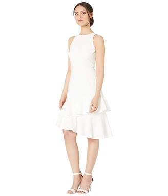 Vince Camuto Sleeveless Tiered Ruffle Hem Crepe Ponte Dress