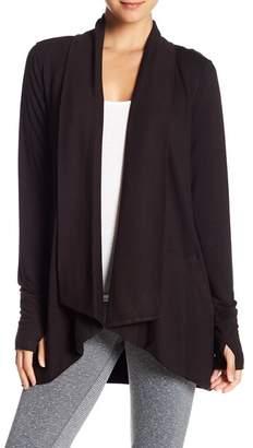 Donna Karan Knit Thumbhole Cuff Cardigan
