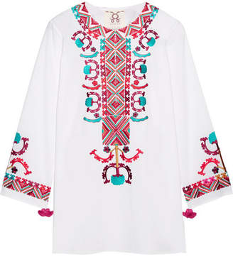 Figue Lisbette Embroidered Cotton-poplin Blouse - White