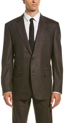 Canali Wool-Blend Suit With Flat Front Pant