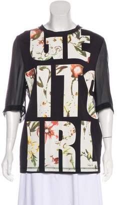 3.1 Phillip Lim Get It Girl Silk-Paneled T-Shirt