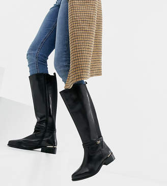 Dune Wide Fit Traviss Black Leather Riding Flat Boots