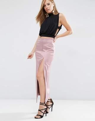 Asos Premium Bonded Satin Maxi Skirt