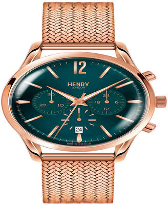 Henry London Stratford Ladies 39mm Rose Gold Stainless Steel Mesh Bracelet Watch with Rose Gold Stainless Steel Casing