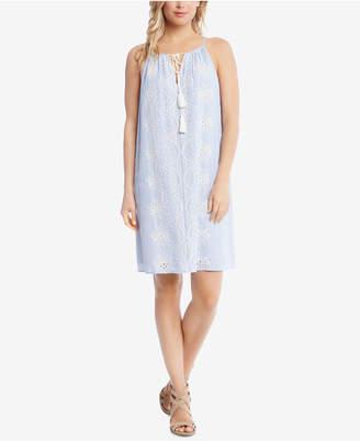Karen Kane Cotton Striped Eyelet Dress