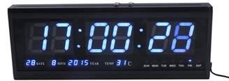 Eecoo LED Digitall Clock Multifunction Large Big Digits LED Wall Desk Alarm Calendar Temperature Clock(Blue Digitall)