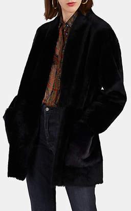 Barneys New York Women's Shearling Belted Coat - Black