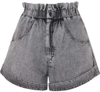 Isabel Marant Lucio Stonewashed Denim Shorts - Gray