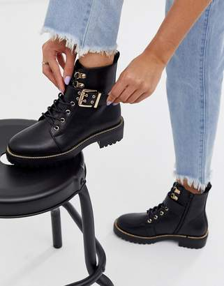 Asos Design DESIGN Armour chain lace up boots in black