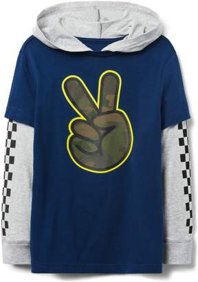 Crazy 8 Crazy8 Peace Sign Hooded Tee