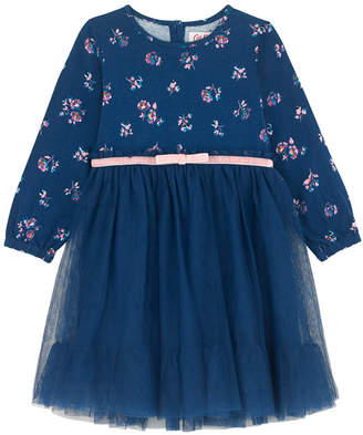 Cath Kidston York Ditsy Baby Tulle Dress with Jersey Sleeves