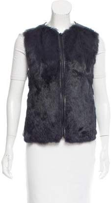 Vince Fur Paneled Leather Vest