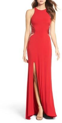 Women's La Femme Illusion Back Jersey Gown $358 thestylecure.com