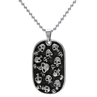 JCPenney FINE JEWELRY Mens Stainless Steel & Black IP Skull Dog Tag Pendant