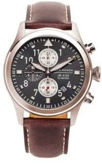 Jack Mason Stainless Steel& Italian Leather Strap Watch