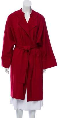 Josie Natori Tie-Accented Long Coat w/ Tags