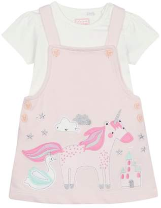 Bluezoo BLUE ZOO Baby Girls' Pink Unicorn Applique Pinafore And Top Set