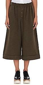 Yohji Yamamoto Regulation Women's Knit Wide-Leg Crop Pants - Olive