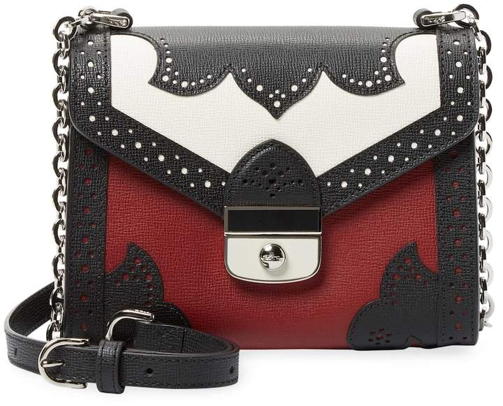 Longchamp Women's Brogue Detail Leather Shoulder Bag