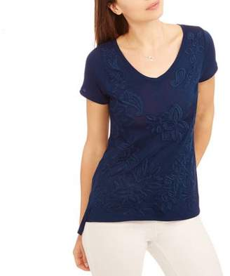 Thyme and Honey Women's Short Sleeve Vneck T-Shirt with Ruched Back