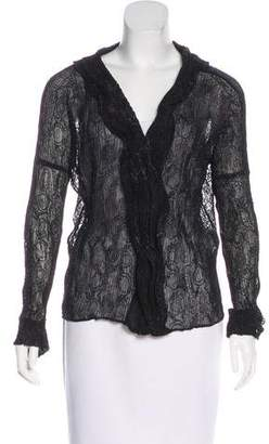 Issey Miyake Fete Embroidered Plissé Top