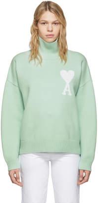 Ami Alexandre Mattiussi Green Oversized Ami De Coeur Sweater