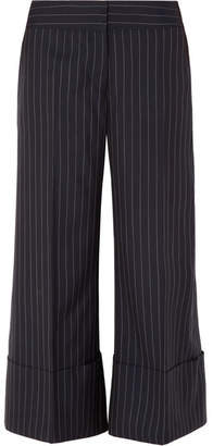 Monse Cropped Pinstriped Wool-crepe Wide-leg Pants - Navy