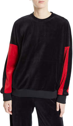 ALALA Velour Crewneck Pullover Sweater with Colorblock Sleeves