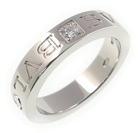 Bvlgari Bulgari 18K White Gold Diamond Ring Size 4.5