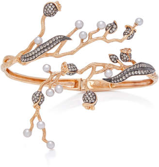 Colette Jewelry Set-Of-Two 18K Rose Gold Pearl And Diamond Cuff