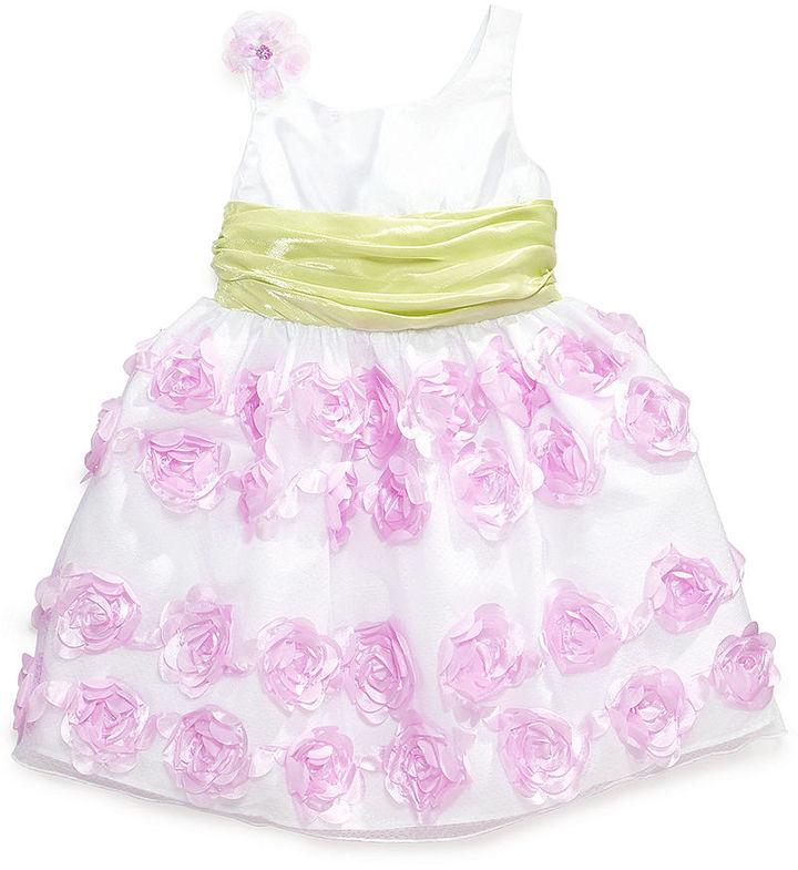 Bonnie Jean Little Girls' Crinkle-Sash Rosette Dress