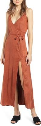 LIRA Night Bloom Faux Suede Maxi Dress