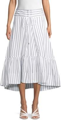 3.1 Phillip Lim Striped Midi Flare Skirt