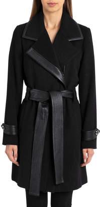 Badgley Mischka Faux-Leather Trim Wool-Blend Belted Coat