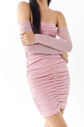 Motel Azalea Mesh Ruched Off-The-Shoulder Mini Dress