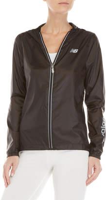 New Balance Black Wind & Water Resistant Hooded Zip Jacket