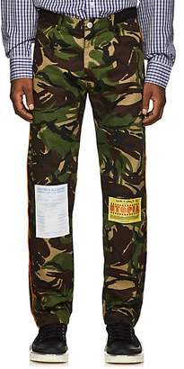 Martine Rose Men's Flyer-Appliquéd Camouflage Cotton-Blend Trousers - Green