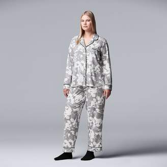 Vera Wang Plus Size Simply Vera Notch Collar Shirt, Pants & Socks Pajama Set