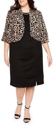 MAYA BROOKE Maya Brooke 3/4 Sleeve Animal Print Jacket Dress - Plus