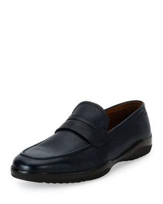 Bally Micson Textured Leather Penny Loafer, Blue/Black $450 thestylecure.com
