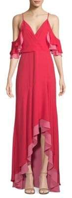 BCBGMAXAZRIA High-Low Ruffle Gown