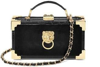 Aspinal of London Lion Trinket Box In Black Velvet Deep Shine Croc