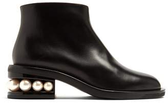 Nicholas Kirkwood Casati Faux Pearl Heeled Leather Ankle Boots - Womens - Black