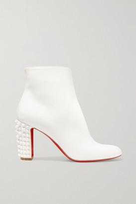 Christian Louboutin Suzi Folk 85 Spiked Leather Ankle Boots - White