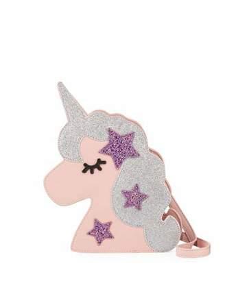 Hannah Banana Girls' Faux-Leather Glittered Unicorn Crossbody Bag
